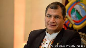 Ecuador President Rafael Correa poses during an interview in an hotel on November 7, 2013 in Paris. AFP PHOTO/ ERIC FEFERBERG (Photo credit should read ERIC FEFERBERG/AFP/Getty Images)