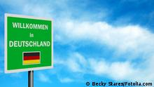 Photo of sign saying Welcome to Germany Copyright: Becky Stares/Fotolia.com, #25019527