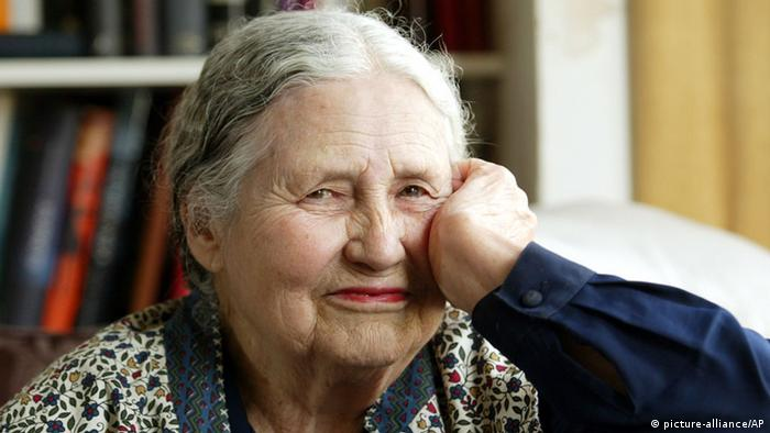 FILE - In this April 17, 2006 file photo, Writer Doris Lessing, 86, sits in her home in north London. Doris Lessing, the free-thinking, world-traveling, often-polarizing writer of The Golden Notebook and dozens of other novels that reflected her own improbable journey across the former British empire, has died, early Sunday, Nov. 17, 2013. She was 94. The author of more than 50 works of fiction, nonfiction and poetry, Lessing explored topics ranging from colonial Africa to dystopian Britain, from the mystery of being female to the unknown worlds of science fiction. (AP Photo/Martin Cleaver, File)