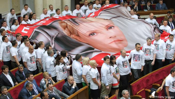 Ukrainian opposition deputies hold a large flag with the portrait of jailed former Prime Minister and the opposition leader Yulia Tymoshenko Photo: STRINGER/AFP/Getty Images