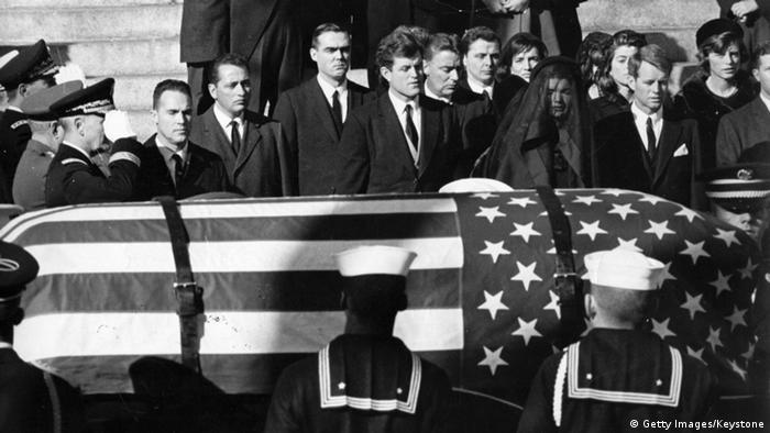 The flag-draped coffin of John F. Kennedy