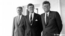 Former United States President John F. Kennedy (R) is joined by his brothers former Attorney General Robert F. Kennedy (L) and former U.S. Senator Edward Kennedy at the White House in Washington, in this handout image taken on August 28, 1963. November 22, 2013 will mark the 50th anniversary of the assassination of President Kennedy. REUTERS/Cecil Stoughton/The White House/John F. Kennedy Presidential Library (UNITED STATES - Tags: POLITICS ANNIVERSARY) ATTENTION EDITORS - THIS IMAGE WAS PROVIDED BY A THIRD PARTY. FOR EDITORIAL USE ONLY. NOT FOR SALE FOR MARKETING OR ADVERTISING CAMPAIGNS. THIS PICTURE IS DISTRIBUTED EXACTLY AS RECEIVED BY REUTERS, AS A SERVICE TO CLIENTS