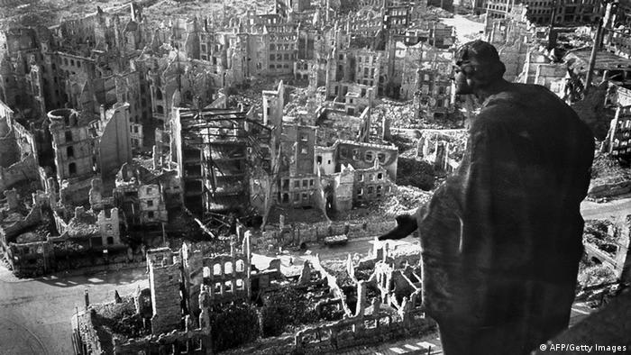 Dresden's shattered buildings in a black-and-white photo taken after the Second World War.