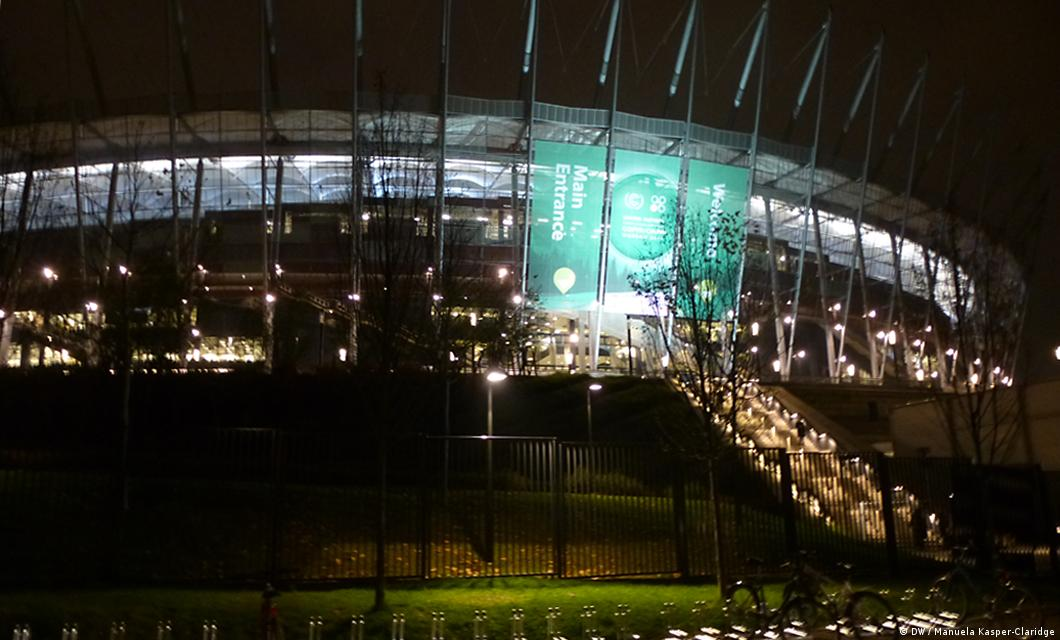 Night shot of national stadium (Photo: DW)