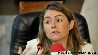 UN Special Rapporteur on the human right to safe drinking water and sanitation, Catarina de Albuquerque, gives a press conference in 2011. (Photo credit should read SEYLLOU/AFP/Getty Images)
