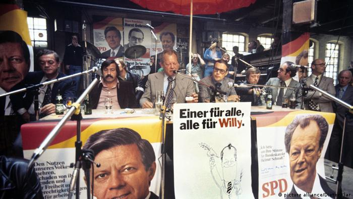 One for all, all for Willy: 1976 election campaign poster for Willy Brandt.