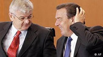 Kabinettsitzung: Fischer und Schröder