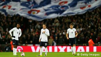 It was a frustrating night for England, despite the best efforts of (L-R) Daniel Sturridge, Wayne Rooney and Steven Gerrard. Photo: Getty