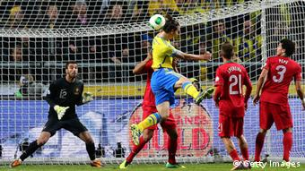 STOCKHOLM, SWEDEN - NOVEMBER 19: Zlatan Ibrahimovic (C) of Sweden heads their equalizing goal during the FIFA 2014 World Cup Qualifier Play-off Second Leg match between Sweden and Portugal at Friends Arena on November 19, 2013 in Stockholm, Sweden. (Photo by Martin Rose/Getty Images,)