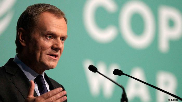 Polish Prime Minister Donald Tusk delivers a speech as he attends the Convention on Climate Change COP19 conference at the National Stadium in Warsaw November 19, 2013. REUTERS/Kacper Pempel (POLAND - Tags: ENERGY BUSINESS)