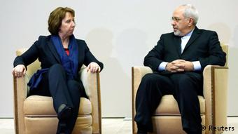 European Union foreign policy chief Catherine Ashton (L) talks with Iranian Foreign Minister Mohammad Javad Zarif REUTERS/Denis Balibouse