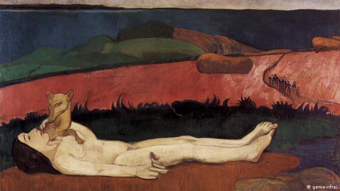 تابلوی از دست دادن بکارت، (۱۸۹۰) اثر پل گوگن، بیداری جنسی دختری جوان بر پهنه طبیعت با گرگ به عنوان نماد انرژی جنسی