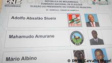 Stimmzettel in Nampula, ohne die Kandidatin von dem partei Partido Humanitário de Moçambique, Filomena Mutoropa. Fotograf: Nelson Carvalho Miguel, DW Korrespondent in Nampula, 20.11.2013
