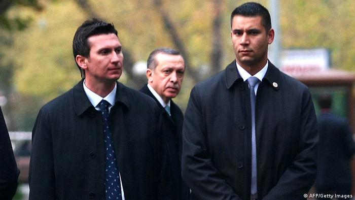 Türkei Premierminister Erdogan mit Bodyguards
