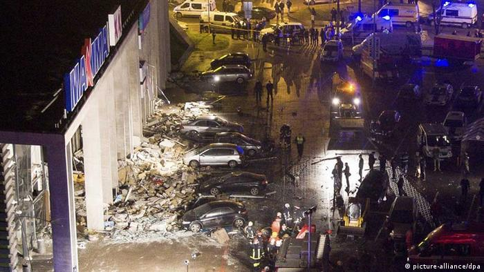 A general view of the scene outside the 'Maxima' supermarket, after its roof collapsed in Riga, Latvia
