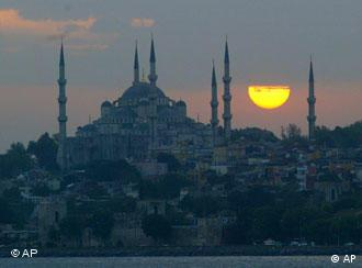 Sunset over the Sultan Ahmed Mosque in Istanbul