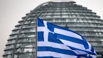 A Greek flag in front of the German Bundestag