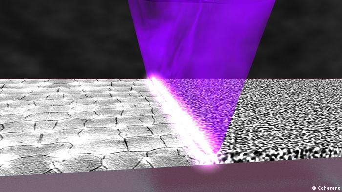 The laser crystallizing the amorphous silicon into polycrystalline silicon (Image: Coherent)