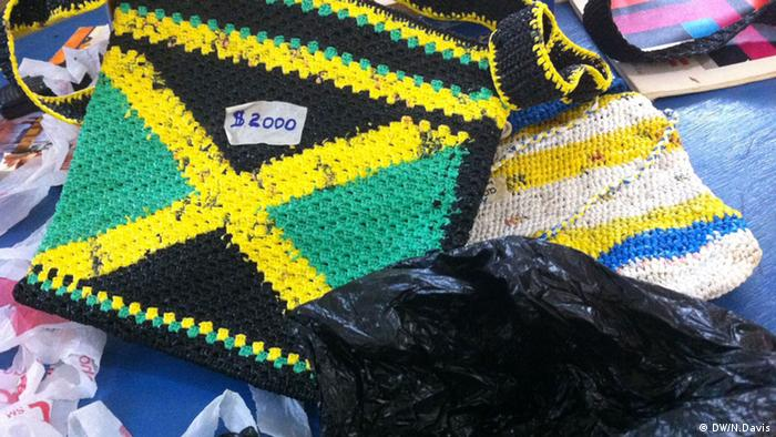 Plastic bags crocheted into handbags Copyright: Nick Davis / DW