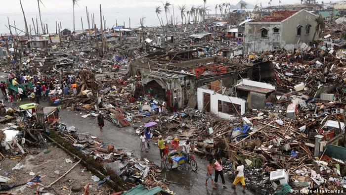 An overview of damages of the typhoon-affected coastal village of San Roque
