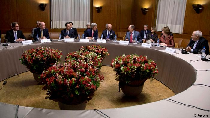 International negotiators at a conference table in Geneva discussing a possible deal REUTERS/Carolyn Kaster/Pool