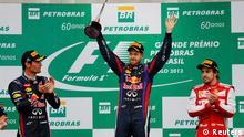 Red Bull Formula One driver Sebastian Vettel of Germany celebrates after winning the Brazilian F1 Grand Prix at the Interlagos circuit in Sao Paulo November 24, 2013. REUTERS/Nacho Doce (BRAZIL - Tags: SPORT MOTORSPORT F1)