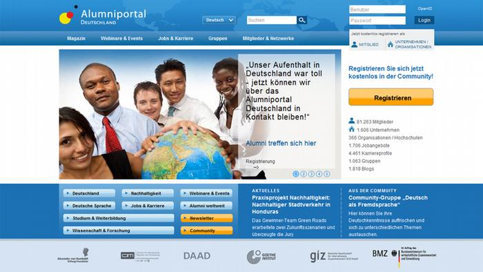Screenshot Alumniportal Deutschland