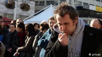 Oliver Frljic at a demonstration in Zagreb.