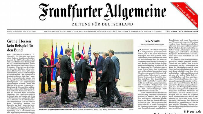 Capa do Frankfurter Allgemeine