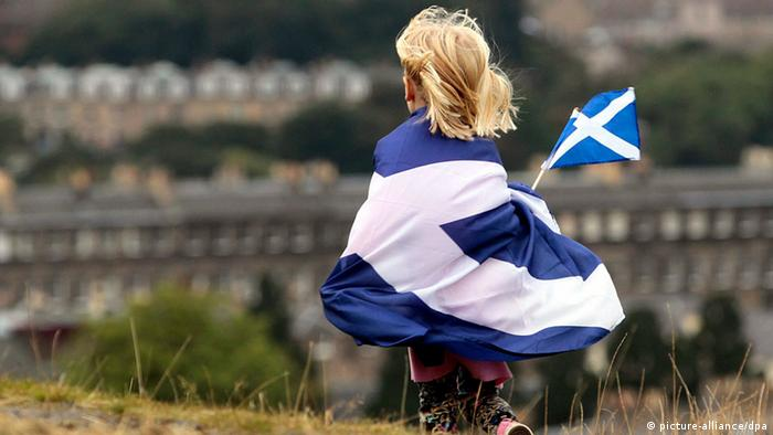 A symbolic picture of the Scottish flag above Edinburgh for the yes campaign for independence for Scotland