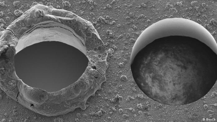 Zwei Laserbohrlöcher: Beim linken wurde mit einem herkömmlichen Laser ein Loch geschmolzen. Beim rechten mit einem Ultrakurzpulslaser ein Loch gebohrt. (Foto: Bosch)