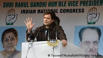 Congress Party Vice-President Rahul Gandhi gestures as he addresses Congress supporters at the party's headquarters in Srinagar on November 7, 2013. (Photo: TAUSEEF MUSTAFA/AFP/Getty Images)