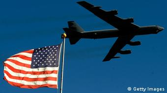 A B-52 from the 93rd Bomb Squadron, Barksdale Airforce Base, performs a flyover during pre-race ceremonies prior to the NASCAR Sprint Cup Series AAA Texas 500 at Texas Motor Speedway on November 7, 2010 in Fort Worth, Texas. (Photo by Rusty Jarrett/Getty Images for NASCAR)