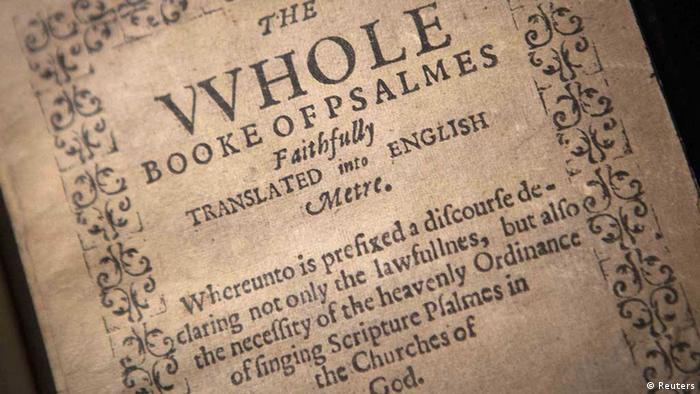 A copy of The Bay Psalm Book is pictured at Sotheby's Auction House in New York, November 21, 2013. Published in 1640, the Bay Psalm Book is considered the first book printed in what was then the British colonies of North America. With only eleven copies left in existence, Sotheby's expects the book to sell for up to $30 million U.S. dollars at auction on November 26. REUTERS/Carlo Allegri (UNITED STATES - Tags: MEDIA SOCIETY RELIGION) eingestellt von sti