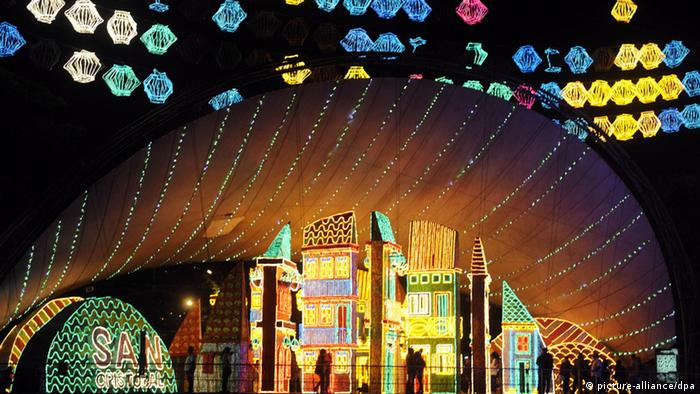 A view of the Christmas lights in the shape of buildings in Medellin's main street