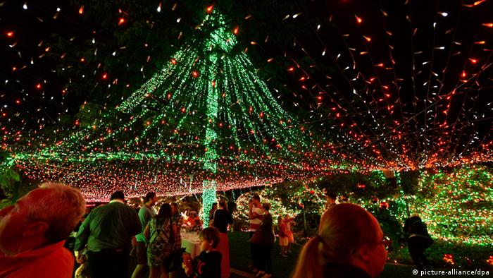 Spectators admire millions of green Christmas lights