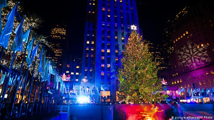 The Christmas tree outside the Rockefeller Center in New York adorned with Christmas lights