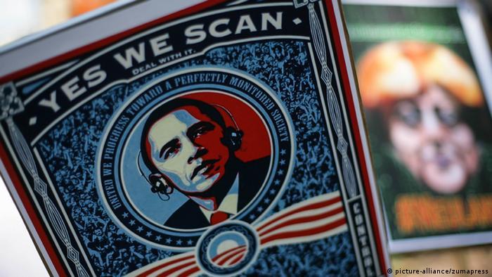 Yes we scan! protest banners accusing US secret service NSA of mass surveillance (photo: David von Blohn/NurPhoto)