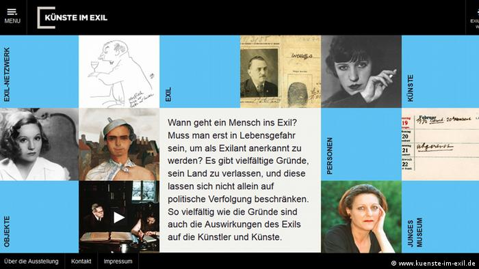 Screenshot of online exhibit, Art in Exile, featuring portraits of artists mingled with blue boxes Delivered by Marc von Lüpke-Schwarz