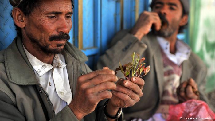 في الصورة رجلان يمنينان في صنعاء يمضغان ورق القات 12 كانون الثاني/ يناير 2012