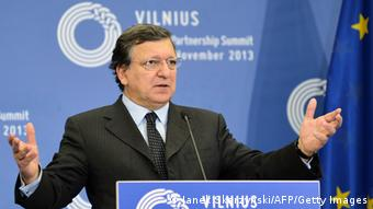European Commission President Jose Manuel Barroso addresses a press conference at the European Union's Eastern Partnership summit on November 29, 2013 in Vilnius, Lithuania. The European Union initialled association agreements with Georgia and Moldova but failed to draw Ukraine closer in its drive to boost ties with six ex-Soviet states on its eastern flank. AFP PHOTO / JANEK SKARZYNSKI (Photo credit should read JANEK SKARZYNSKI/AFP/Getty Images)