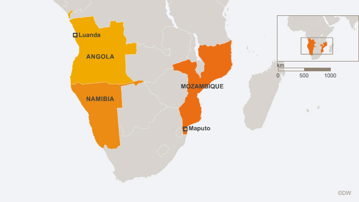 Map showing Mozambique, Namibia and Angola.