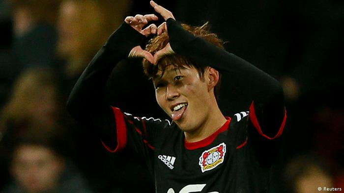 Bayer 04 Leverkusen's Heung Min Son celebrates his goal against FC Nuremberg during their German first division Bundesliga soccer match in Leverkusen November 30, 2013. REUTERS/Wolfgang Rattay (GERMANY - Tags: SPORT SOCCER) DFL RULES TO LIMIT THE ONLINE USAGE DURING MATCH TIME TO 15 PICTURES PER GAME. IMAGE SEQUENCES TO SIMULATE VIDEO IS NOT ALLOWED AT ANY TIME. FOR FURTHER QUERIES PLEASE CONTACT DFL DIRECTLY AT + 49 69 650050