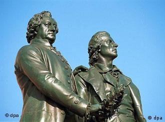 Goethe y Schiller en Weimar, en casa.