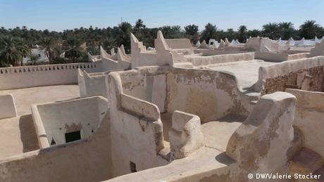 Traditional houses in Ghadames, Libya. The white color helps protect against the heat.