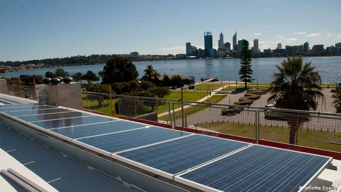 A residential solar array overlooking the Perth city skyline and Swan River Photographer: Infinite Energy