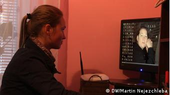 Oksana Hemei Skypes with her mother