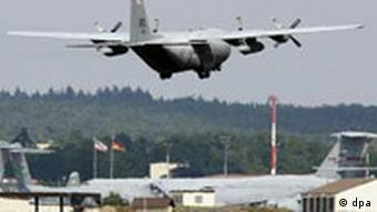 A plane lands at Ramstein Air Base