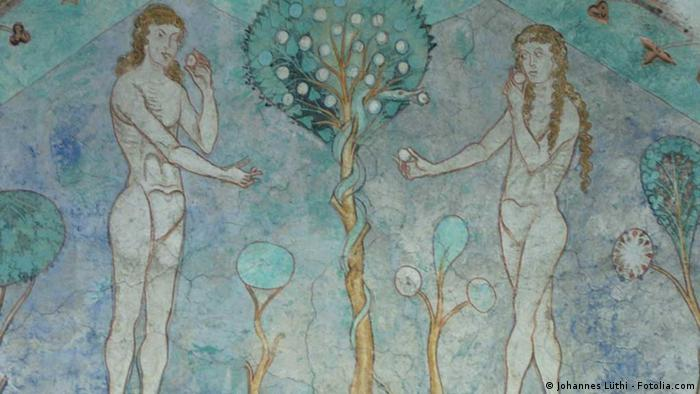 Стенопис: Адам и Ева преди прогонването им от Рая