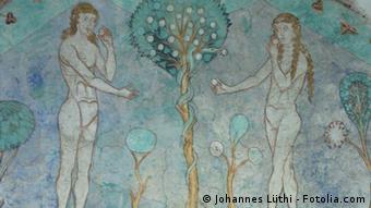 Gemälde von Adam (links) und Eva (rechts), bekleidet mit einem Feigenblatt